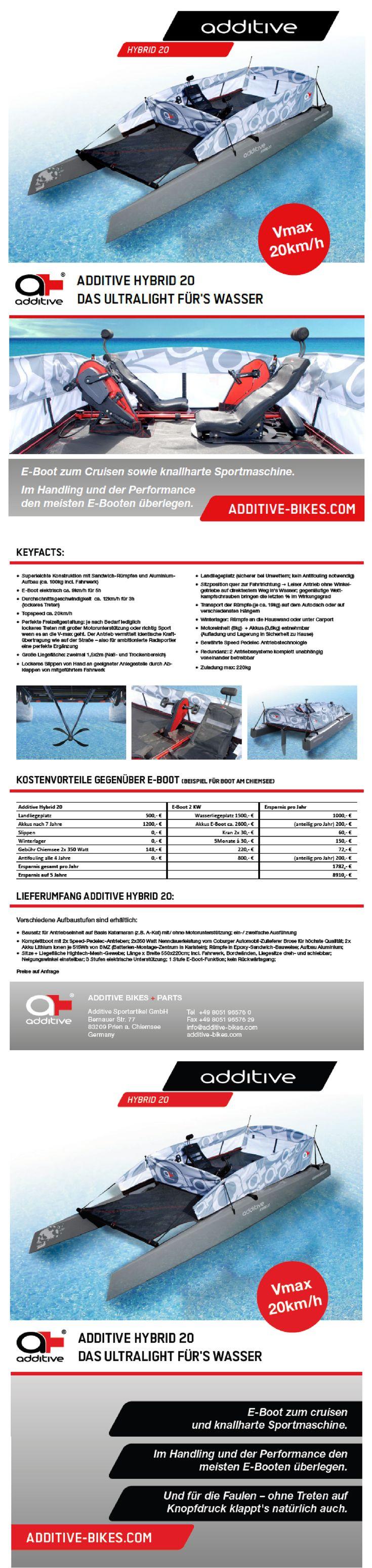 Das HYBRID 20 ist ein Tretboot mit Trittkraftunterstüzung, nach Belieben zu verwenden als E-Boot zum Cruisen oder als knallharte Sportmaschine mit einer Maximalgeschwindigkeit von ca. 20km/h ! #Tretboot #Elektroboot #Sportboot #Lifestyle