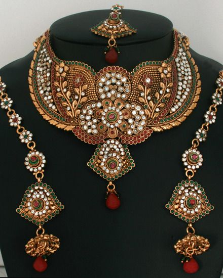 Fabulous semibridal necklace set with emerald,ruby and clear stones-11SMBR11  http://www.craftandjewel.com/servlet/the-1688/bridal-party-jewelry-sets/Detail