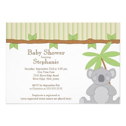 Cute Modern Koala Baby Shower Invitation