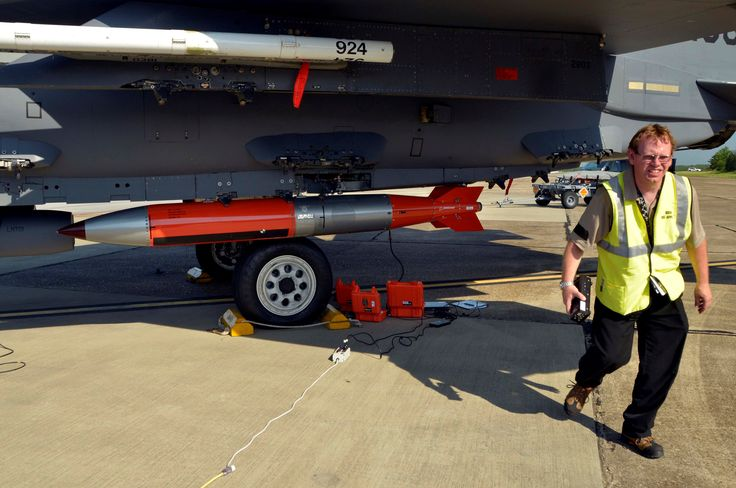 Prototype of a B61-12 on an F-15E aircraft at Eglin Air Force Base in Florida. Photo by Dan Sgalyn