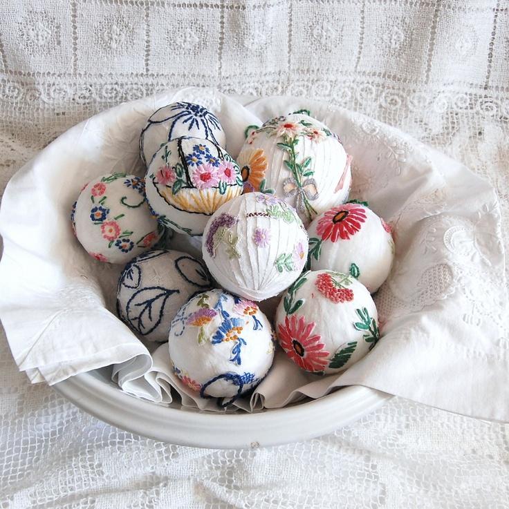 Vintage Linen Ball Ornaments. lovely for Christmas tree