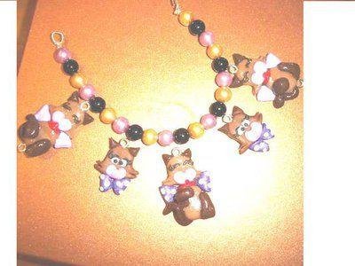 REVIVAL anni 80 HELLO SPANK - fimo - LOTTO OFFERTA STOCK - 4 ciondoli charms MICIA  - idea regalo - kawaii - compleanno