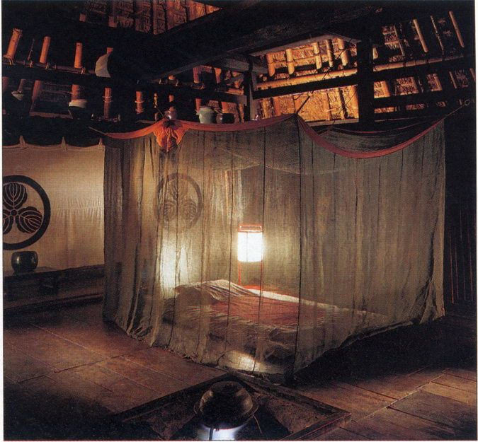 Mosquito covered bedroom in traditional Japanese farmhouse..This would be very helpful in Minnesota!