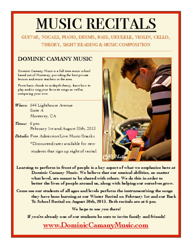 Presidio of Monterey, CA Dominic Camany Music is a full time music school based out of Monterey, providing the best privatelessons and music teachers in the area.  From basic chords to in-depth theory, learn how toplay … Click flyer for more >>