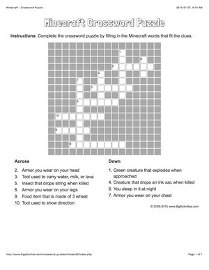 Kids love Minecraft? Try a Minecraft crossword puzzle (puzzle changes each time).