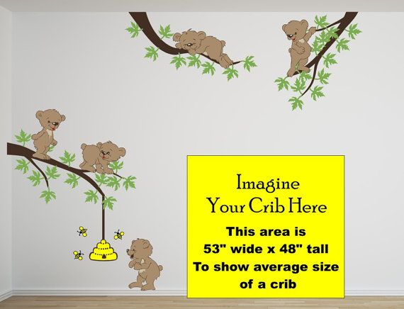 Nursery Wall Decal With Bears Bear Cubs Bee By WallFabricDesigns, $145.00