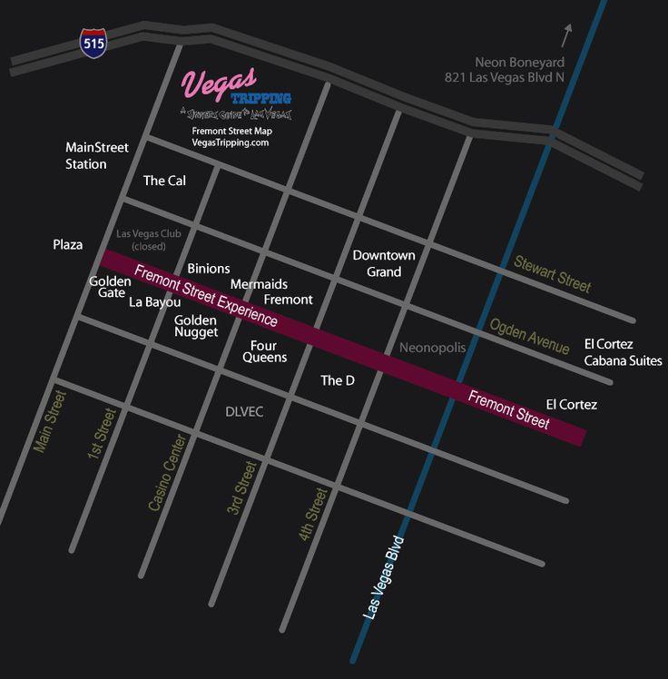 Map Of Downtown Las Vegas Fremont Street Hotel Casinos