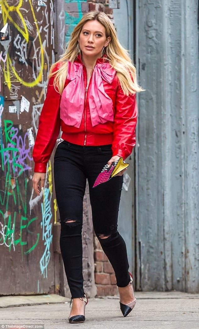 Hilary Duff stands out in scarlet and pink jacket while filming in NYC #dailymail