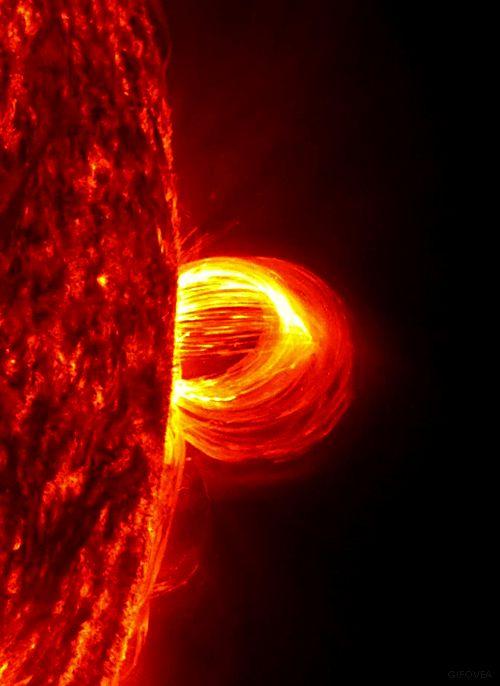 O loop de um plasma entrando em erupção no Sol