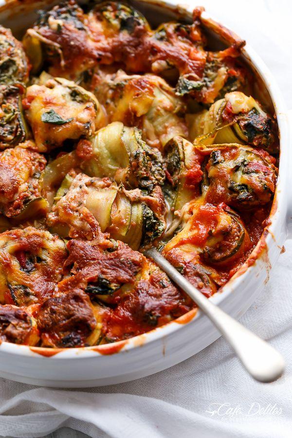 Spinach and Ricotta Zucchini CannelloniSpinach and Ricotta Zucchini Cannelloni | http://cafedelites.com