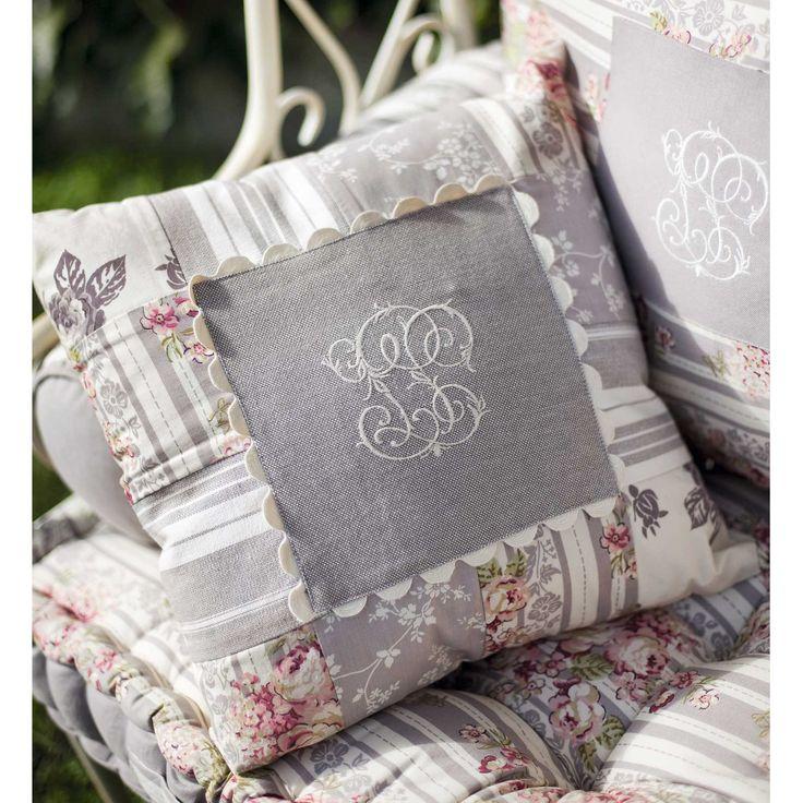Coussin gris/ivoire 100% coton 40x40 cm ANAIS