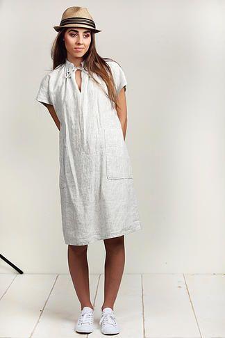 ELLA SHIFT DRESS | Chalk Pinstripe