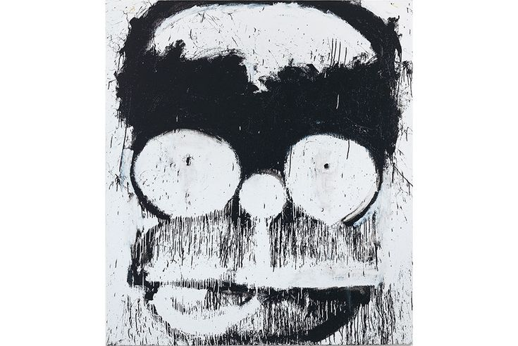 Joyce Pensato featured in FOCUS series organized by the Modern Art Museum of Fort Worth, Joyce Pensato, Groucho-Homer, 2014. Enamel on linen,