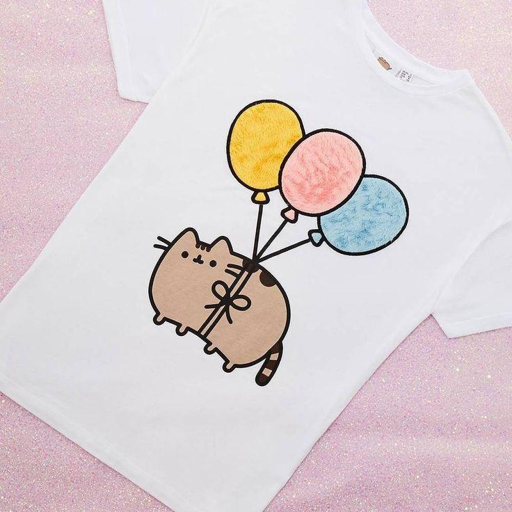 Pusheen The Cat T Shirt FUR BALLOONS Ladies Womens Primark