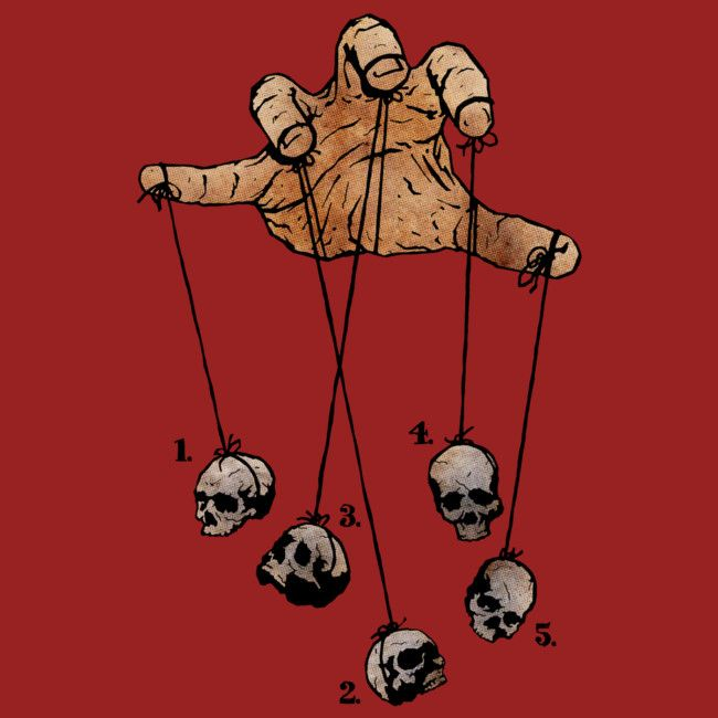 The Five Dancing Skulls Of Doom is a T Shirt designed by matthewdunnart to illustrate your life and is available at Design By Humans
