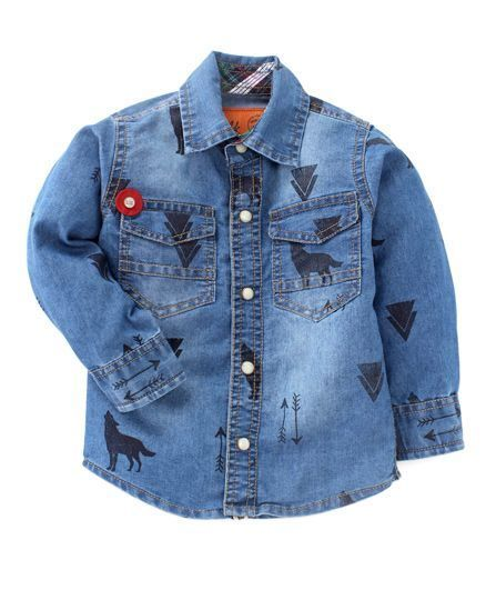 Little Kangaroos Blue Washed Denim Shirt # Blue # Cotton # Denim # Printed # Spread Collar # Full Sleeve