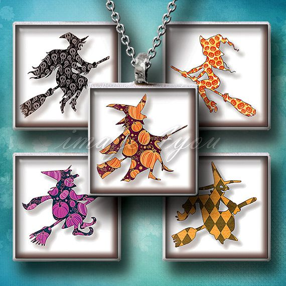 Witches square images Halloween silhouette Digital by images4you