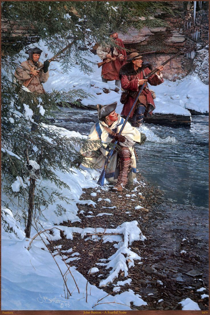 American militia patriots skirmishing in the woods