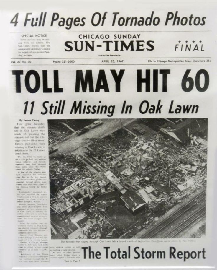 On this date in 1967 (4/21) , the deadly tornado that blasted through Oak Lawn late in the afternoon was one of at least 10 twisters that struck northeastern Illinois that day.