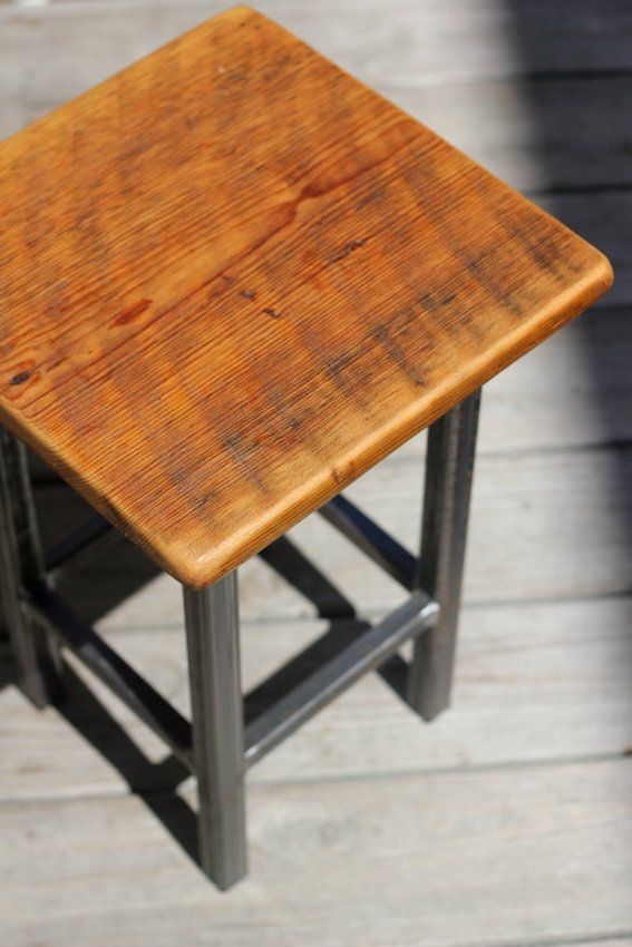 Custom Made Small End Table, Reclaimed Wood And Metal $150...could Take