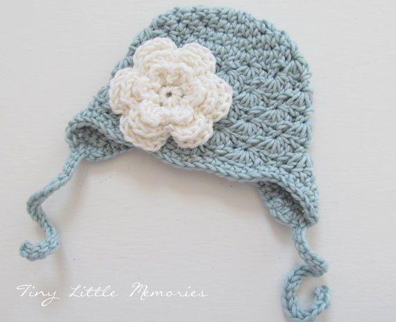 Baby Girl Ear Flap Earflap Crochet Hat with by TinyLittleMemories, $26.00