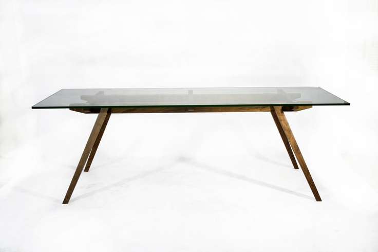 recoleta dining table glass top walnut base glass top