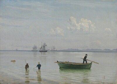 """Vilhelm Peter Karl Kyhn:"""" Ved Hellebæk strand"""", 1878."""