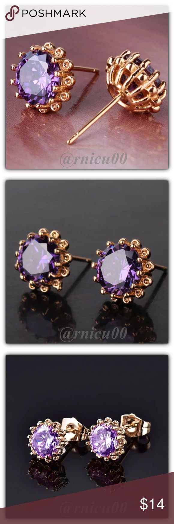 🆕Fave RESTOCK!🆕Amethyst Aster 18K Stud Earrings! 💗Customer Favorite Re-Stock💗New Colors Arrived Today! These are so Beautiful! They have a Budding, Flower Look! Shiny Round Purple Amethyst Stone, Generous size at 8mm👌 (ygfat6-1417-0250)  ✨Will be shipped Securely in Jewelry Box ✨Please see pic 7 for full description👌  *ALL items Marked at Absolute LOWEST Price unless Bundled! *NO TRADES *Sales are Final-Please Read Descriptions! Boutique Jewelry Earrings