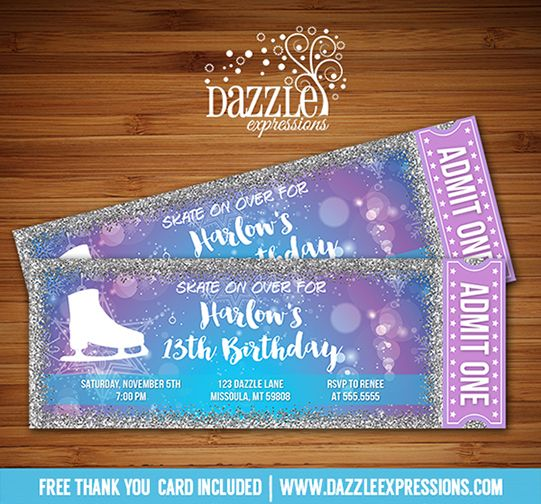 Printable Glitter Ice Skating Ticket Birthday Invitation   Girls or Teen or Teenager Winter Party Idea   Snowflake   Frozen Inspired   Purple, Blue and Silver Sparkle Glitter   Figure Ice Skate Party Ticket   Can be made for any type of event   FREE thank you card included   Printable Matching Party Package Decorations Available! Banner   Signs   Labels   Favor Tags   Water Bottle Labels and more! www.dazzleexpressions.com