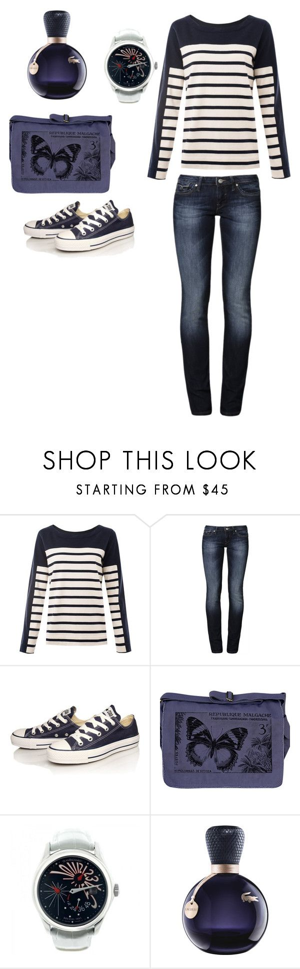 """""""Bleu de Bleu..."""" by lalynany ❤ liked on Polyvore featuring MiH Jeans, Mavi, Converse, Crawlspace Studios, JeanRichard and Lacoste"""