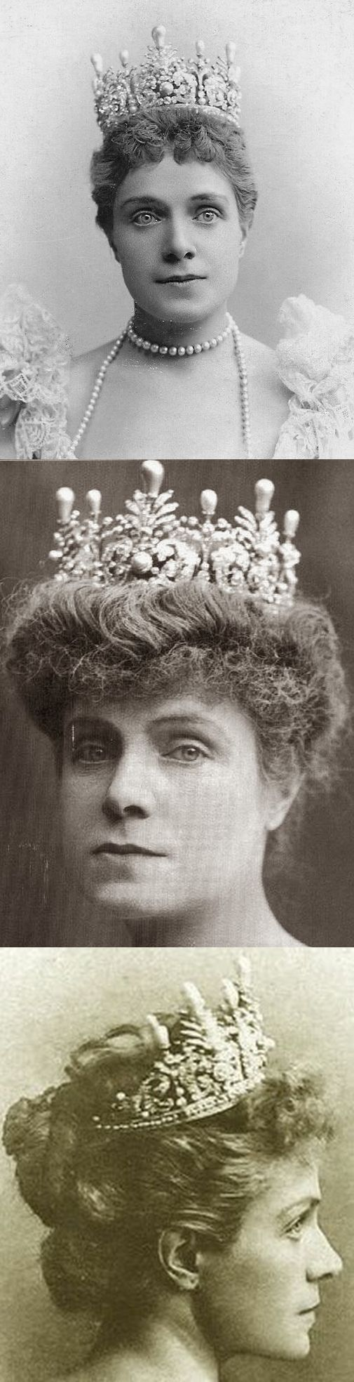 Diamond and pearl tiara by Del Mazo for Infanta Eulalia of Spain, Duchess of Galliera; from her sister-in-law, Queen Maria Christina of Spain, on the occasion of her 1886 marriage to Infante Antonio, Duke of Galliera.