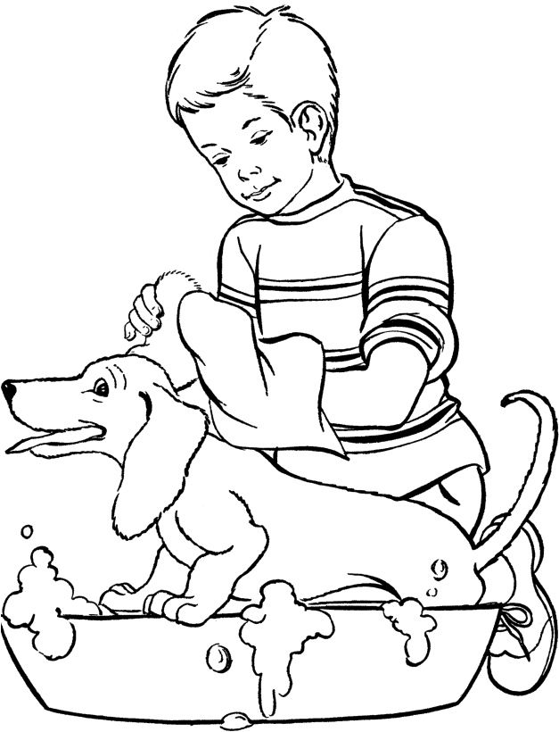 Dog Happy Bathed Coloring Page