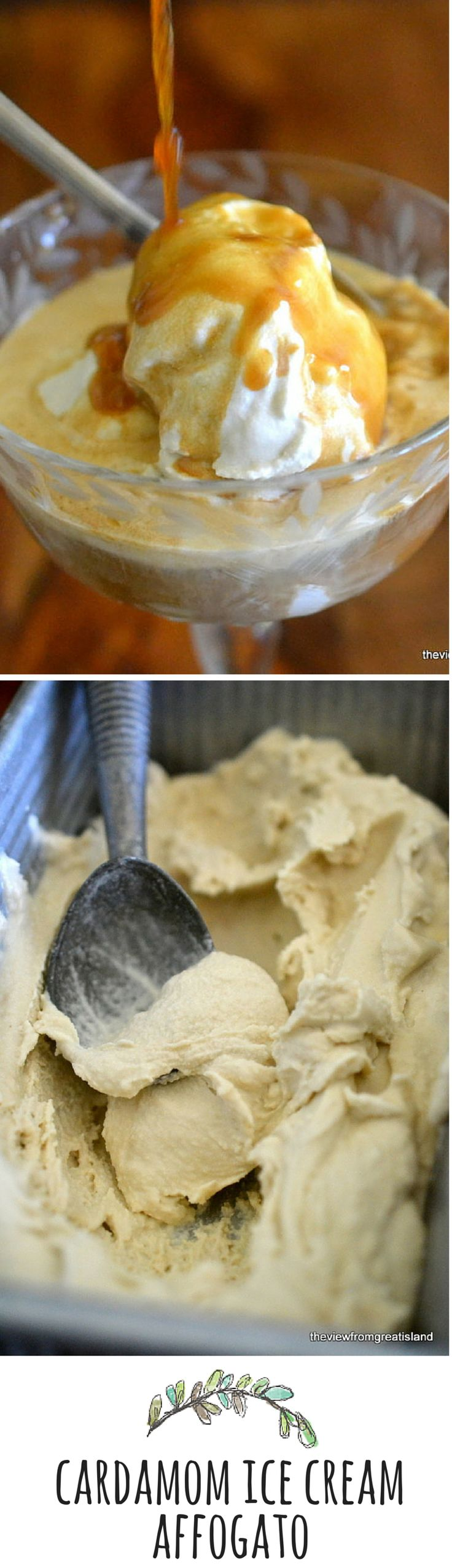 Homemade cardamom ice cream takes the Italian classic dessert (a shot of espresso poured over ice cream) to a new high!