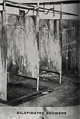 Dilapidated showers. From: A Pictorial Report on Mental Institutions in Pennsylvania, 1946