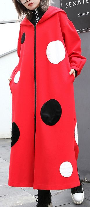 8c56901115e Fine-red-dotted-Coat-oversize-hooded-outwear-Fashion-side-open-baggy-long- coats