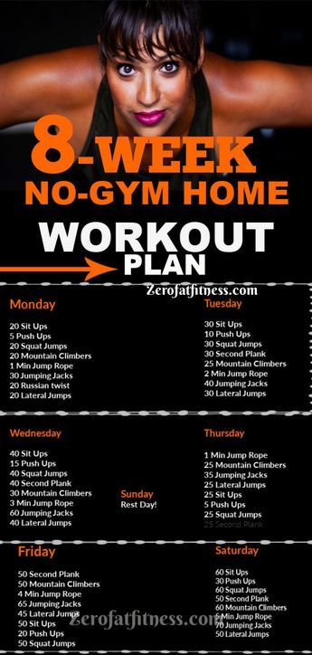 8 Week NO-GYM HOME workout plan for Weight Loss, Abs, Beginner. Easy Full Body S…