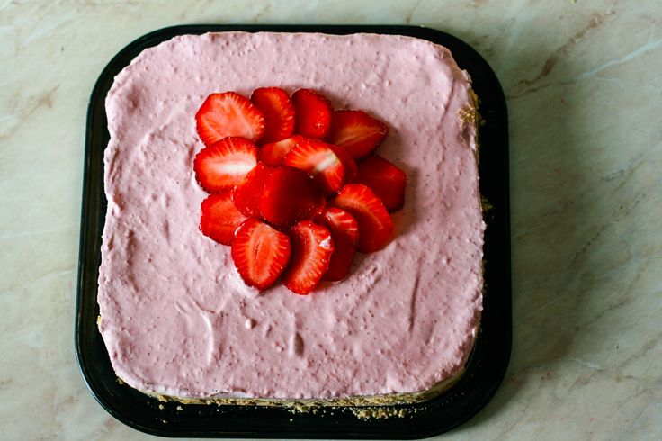 No-Bake White Chocolate Strawberry Mousse Cake. Though it may seem complicated with so many ingredients and directions, actually is quite easy to prepare and there is no way you can go wrong with it. No baking is required which makes it a perfect dessert for summer.