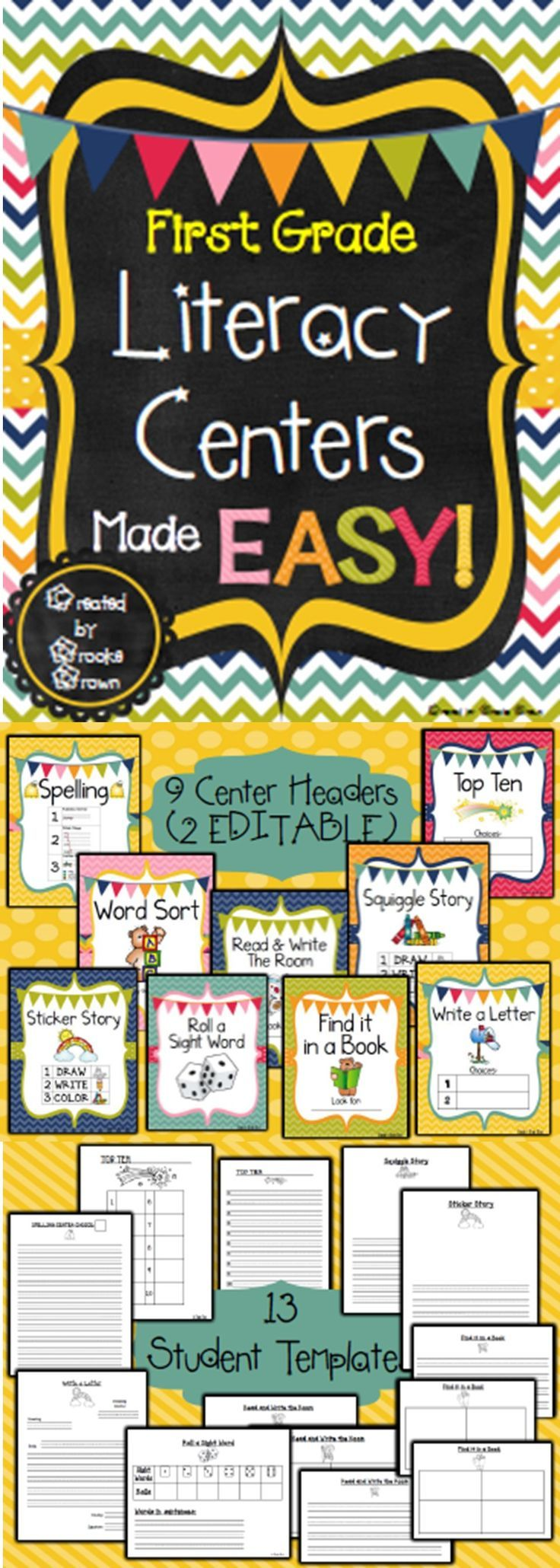 *NEW DESIGN!* First Grade Literacy Centers Made EASY!