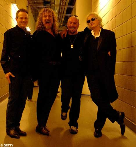 John Paul Jones, Robert Plant Jason Bonham and Jimmy Page. I'm assuming this was right before they took the stage at the O2 in '07