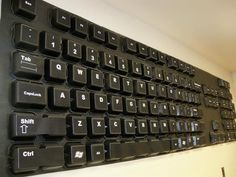 Giant Keyboard Hallway Decoration. Between labs 115 and 109?  Square black food containers can be bought online at restaurant supply stores.