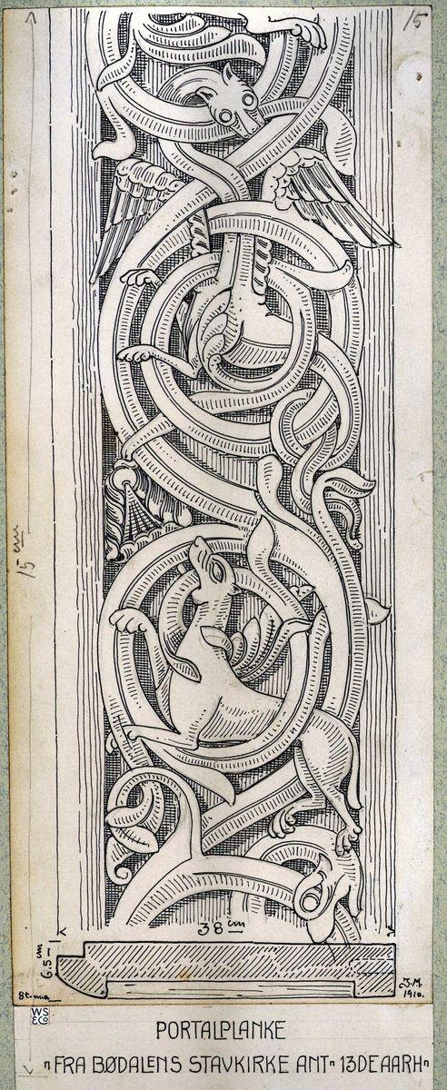 Johan J. Meyers tegning (1910) av portalplanke fra Bødalens stavkirke, Gausdal, Oppland. Ant. fra 1300 århundre.