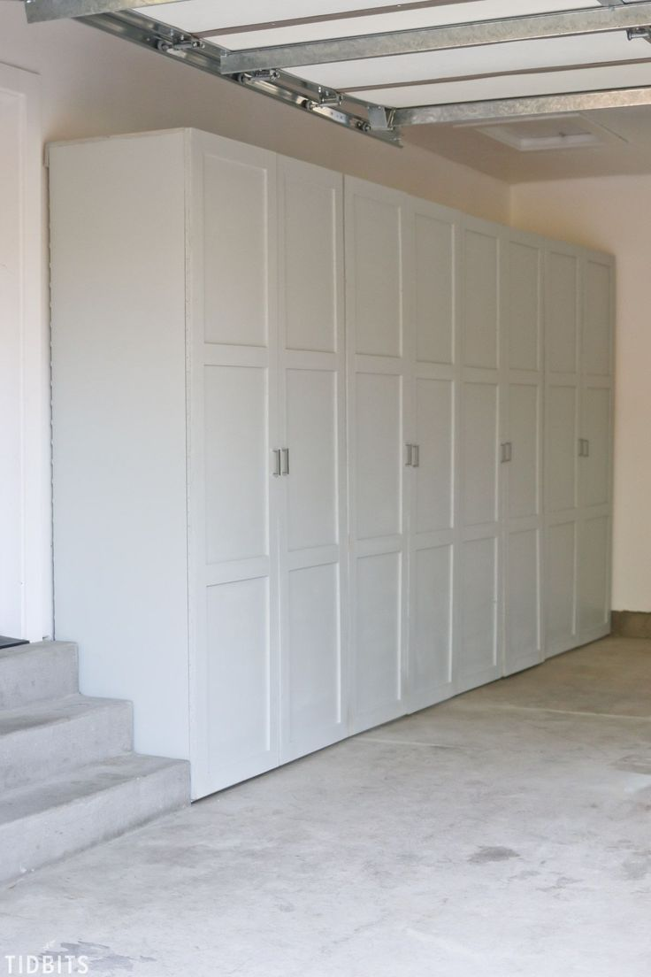 "Think the outside of these garage storage cabinets look great? Wait until you see the insides! Free building plans available . . . ""oh honey!"""