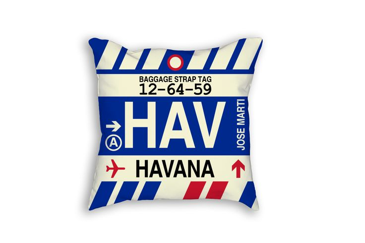 HAV Havana Airport Code Baggage Tag Pillow
