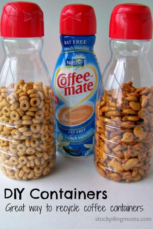 Recycle offee creamer containers-great containers for the car!