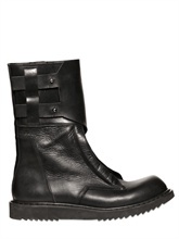 RICK OWENS - MOCK ZIPPED LEATHER COMPACT BOOTS -: Black Mocking, Owens Mocking, Zip Leather, Owens Boots, Compact Boots, Cowboys Boots, Leather Compact, Rick Owens, Mocking Zip