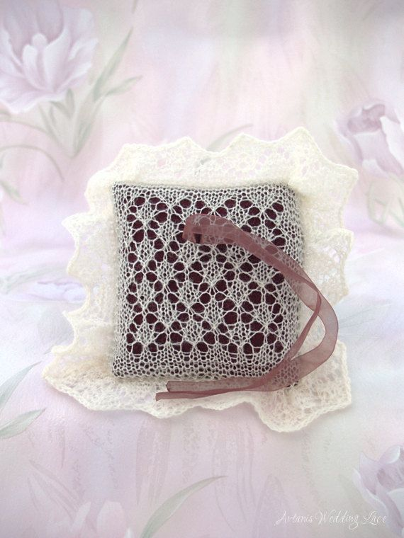 Lace Wedding Ring Bearer Pillow Hand-knitted by ArtanisWeddingLace