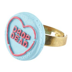 Hate Hearts Ring - Blue, Drop Dead Clothing