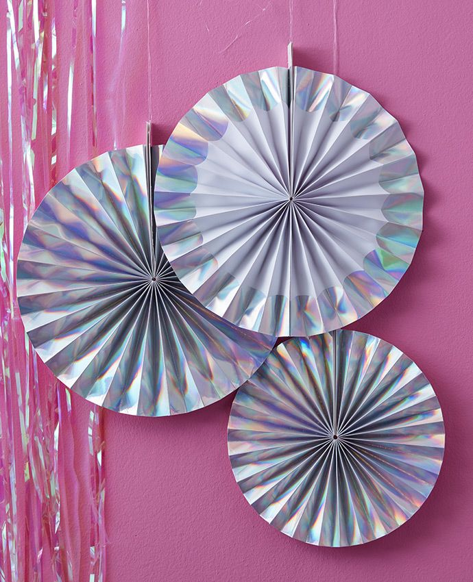 Add a touch of sparkle to your party decorations with these iridescent paper fans! The perfect addition to any iridescent party theme - they'd even be perfect for a unicorn party!