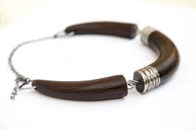 Black Claw necklace Jointed necklace in wengé wood with rugged stainless steel details.