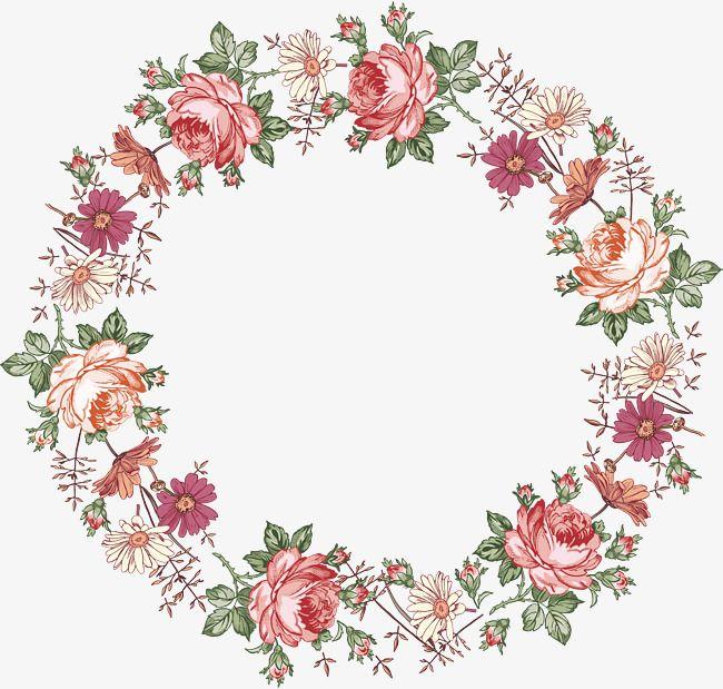 Red Fancy Wreath Border Texture Watercolor Flower Vector Watercolor Flowers Free Watercolor Flowers